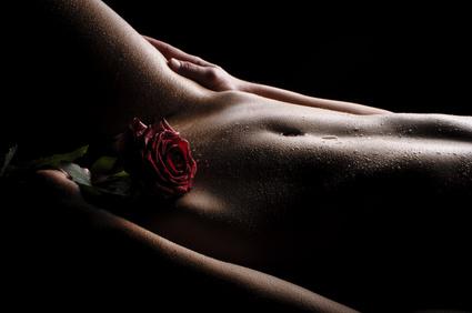 Der Bauch einer jungen, nackten Frau. Sie bedeckt sich mit einer roten Rose den Schambereich, freigestellt vor dunklem Hintergrund.