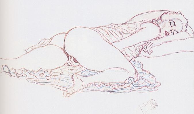 Gustav Klimt fertigte eine ganze Kollektion erotischer Skizzen, darunter viele von Frauen, die sich selbst verwöhnen