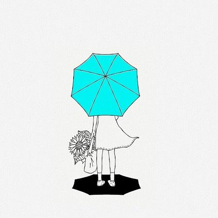 girl-flowers-umbrella-illustration-sketch
